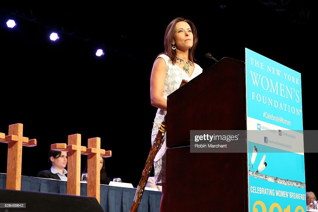 Head of Goldman Sachs Impact Investing business, global head of corporate engagement and president of Goldman Sachs Foundation Dina Powell speaks on stage during The New York Women's Foundation's 2016 celebration womens breakfast on May 5, 2016 in New York City.