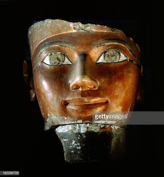 Head of Hatshepsut Fragment of a statue from the queens temple at Deir el Bahari representing Hatshepsut in the form of Osiris Egypt Ancient Egyptian...
