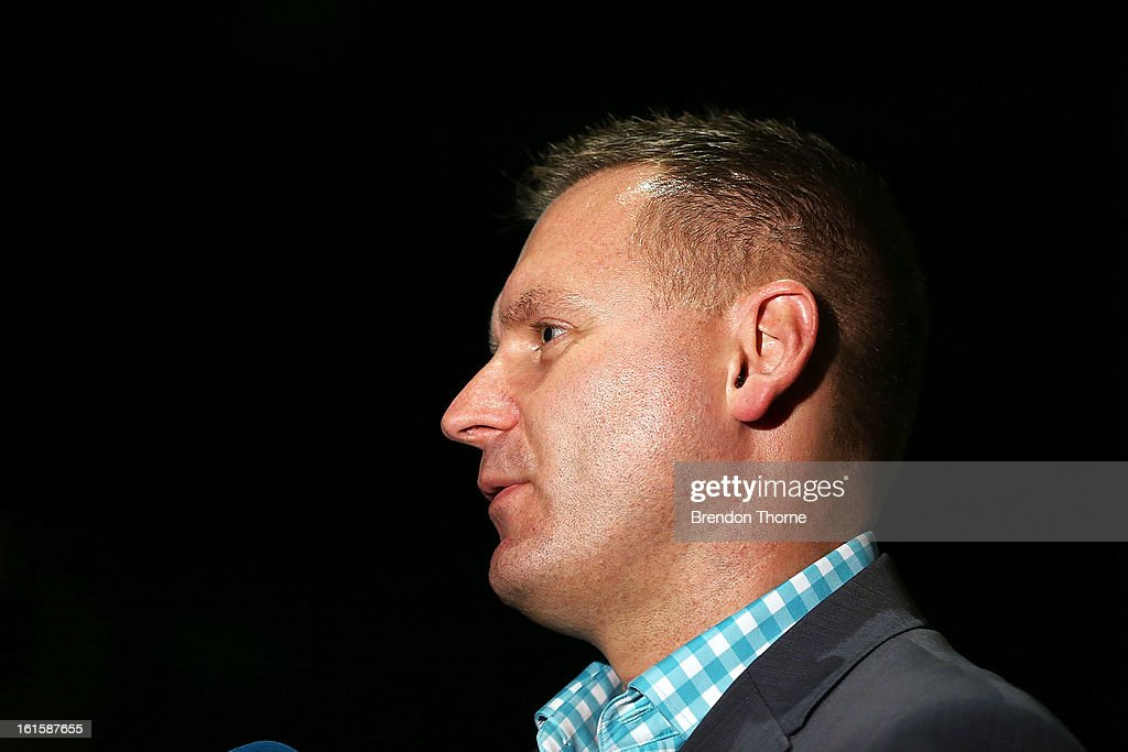 Head of Hyundai A-League, Damien de Bohun addresses the media during the FFA Australian Football Fan Forum at The Star on February 12, 2013 in Sydney, Australia.