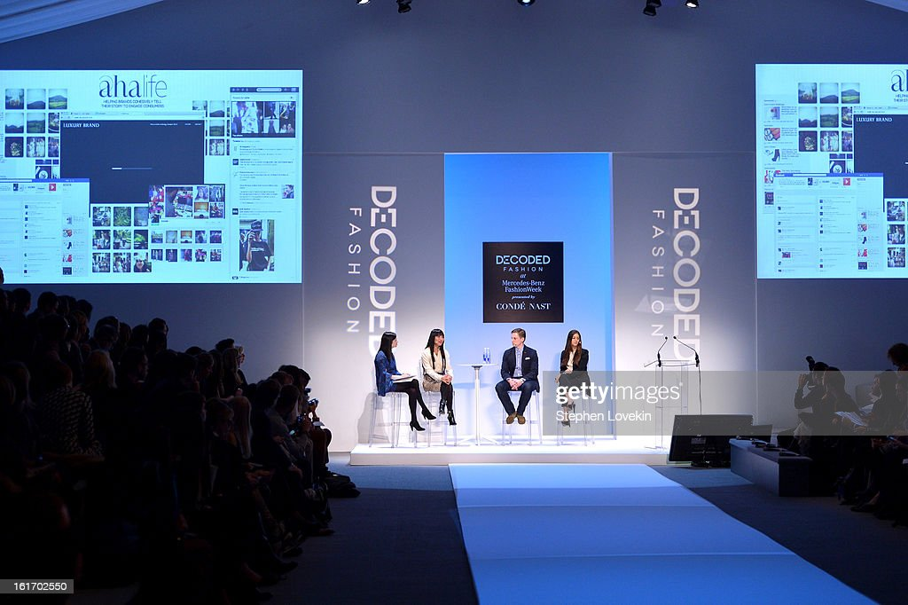 Head of Industry for Google Lisa Green, founder of AHAlife Shauna Mei, CFO of Bonobos Bryan Wolff, and Global Director of Social & Digital Media at Michael Kors Farryn Weiner speak at The Decoded Fashion Forum & Hackathon Finale Fall 2013 fashion show during Mercedes-Benz Fashion Week at The Stage at Lincoln Center on February 14, 2013 in New York City.