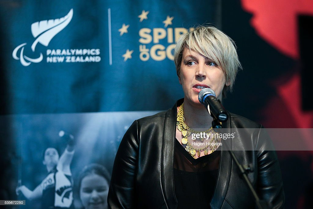 Head of Injury Prevention Emma Powell makes a speech during Paralympics New Zealand's '100 Days To Go' event at Te Papa Museum on May 30, 2016 in Wellington, New Zealand.