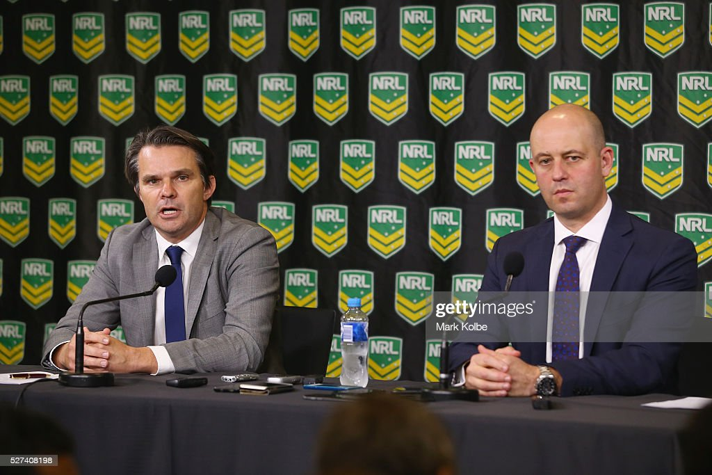 Head of Integrity Nick Weeks speaks to the media as NRL CEO Todd Greenberg watches on during an NRL press conference at NRL Headquarters on May 3, 2016 in Sydney, Australia. The NRL announced today preliminary findings relating to salary cap breaches by the Parramatta Eels dating back to 2013. The NRL issued breach notices to the Parramatta Eels today which would see the club lose accumulated points, be fined, and lose the 2016 Auckland Nines title.