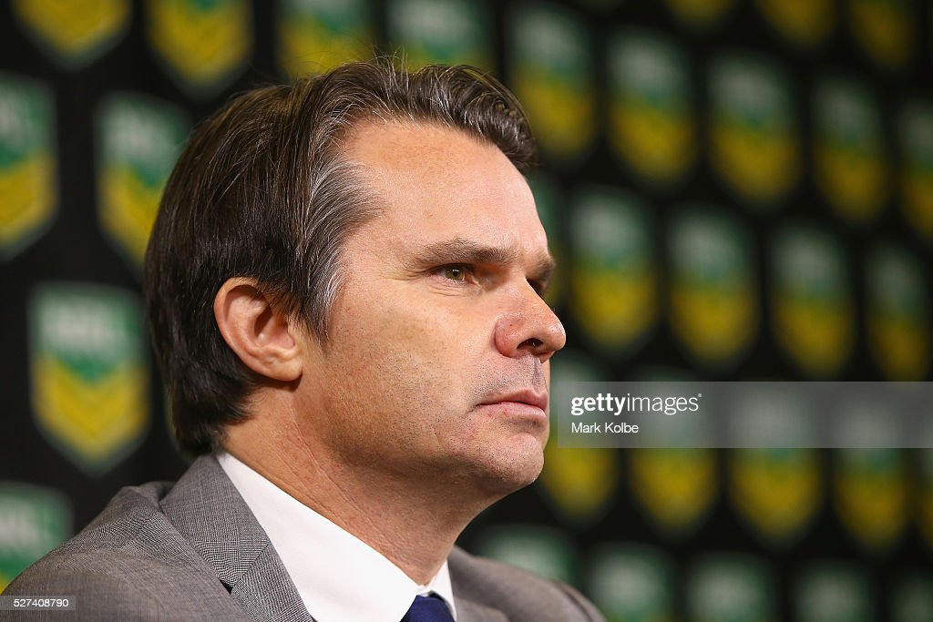 Head of Integrity Nick Weeks speaks to the media during an NRL press conference at NRL Headquarters on May 3, 2016 in Sydney, Australia. The NRL announced today preliminary findings relating to salary cap breaches by the Parramatta Eels dating back to 2013. The NRL issued breach notices to the Parramatta Eels today which would see the club lose accumulated points, be fined, and lose the 2016 Auckland Nines title.