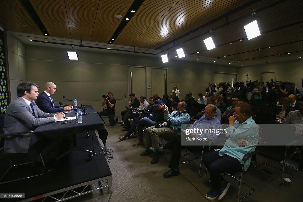Head of Integrity Nick Weeks watches on as NRL CEO Todd Greenberg speaks to the media during an NRL press conference at NRL Headquarters on May 3, 2016 in Sydney, Australia. The NRL announced today preliminary findings relating to salary cap breaches by the Parramatta Eels dating back to 2013. The NRL issued breach notices to the Parramatta Eels today which would see the club lose accumulated points, be fined, and lose the 2016 Auckland Nines title.