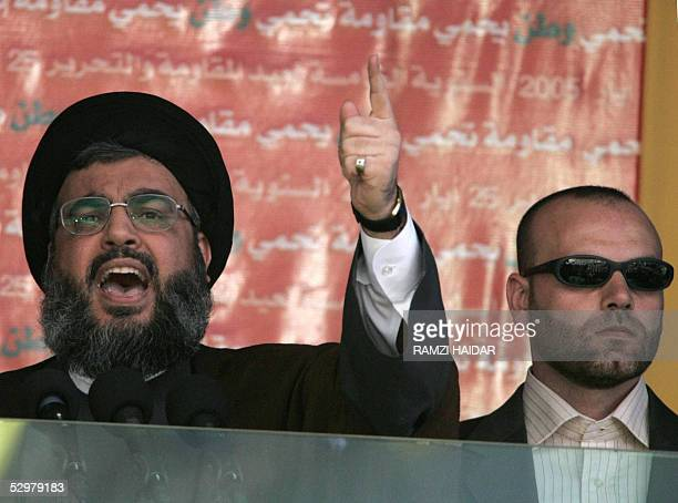 Head of Lebanon's Shiite Muslim movement Hezbollah Sheikh Hassan Nasrallah addresses supporters in BintJbeil a Shiite town near the Israeli border 25...