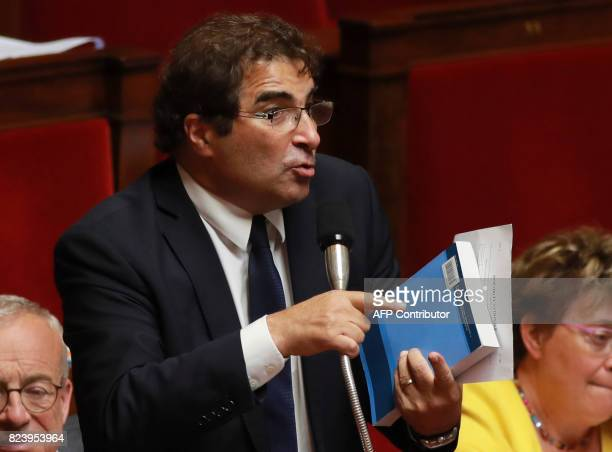 Head of Les Republicains party's parliamentary group Christian Jacob speaks during a debate on a draft law on the moralisation of political life at...