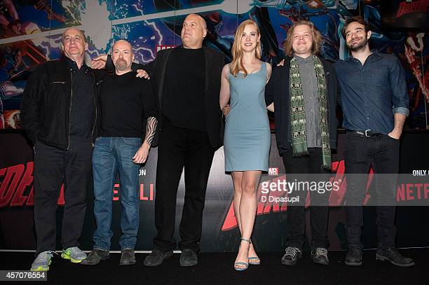 Head of Marvel Television Jeph Loeb Showrunner Steven S DeKnight Vincent D'Onofrio Deborah Ann Woll Elden Henson and Charlie Cox attend the Netflix...