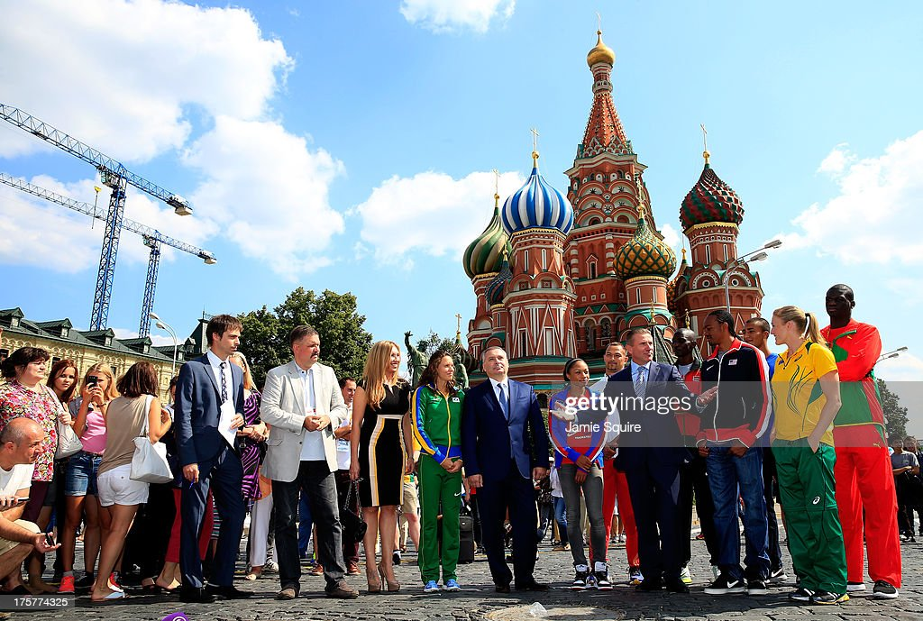 Head of Moscow Department for Sports Aleksey Vorobyev and IAAF Vice-President Sergey Bubka pose alongside Fabiana Murer of Brazil, Asbel Kiprop of Kenya, Koji Murofushi of Japan, Kirani James of Grenada, Anne Chicherova of Russia, Yuriy Borzakovskiy of Russia, Sally Pearson of Australia, Ashton Eaton of the USA, Allyson Felix of the USA and Aries Merritt of the USA ahead of the 14th IAAF World Athletics Championships on August 8, 2013 in Moscow, Russia.