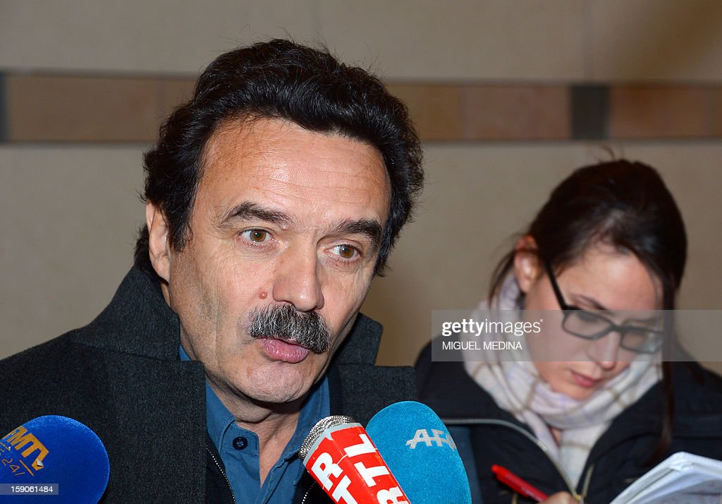 Head of news website Edwy Plenel answers journalists' questions, on January 7, 2013 at the Economy ministry in Paris, after a meeting with French Junior minister for Digital economy, over a decision by internet provider Free telecoms to block online advertisements.