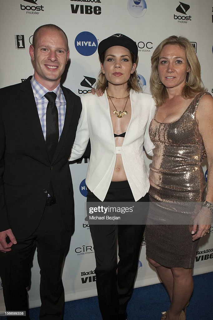 Head of Nivea lipcare Scott Perillo, Recording Artist Skylar, and Senior VP Leslie Kickham attend Interscope Records AMA After Party Hosted By NIVEA Lip Butters & Ciroc Ultra Premium Vodka Portraits Inside on November 18, 2012 in Los Angeles, California.