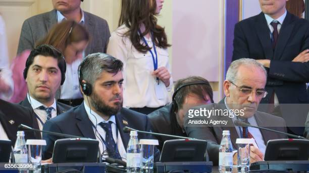 Head of opposition delegation Muhammed Allus takes part in the third session of Syria peace talks in Astana Kazakhstan on February 16 2017