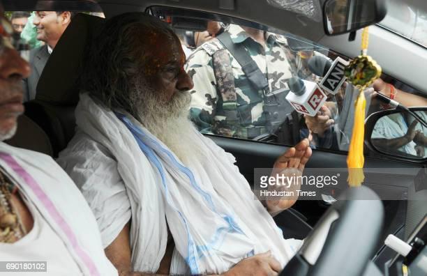 Head of Ram Janmbhoomi Nyas Nritya Gopal Das after getting bail in Ayodhya Ram MandirBabri Masjid Demolition case at CBI court on May 30 2017 in...