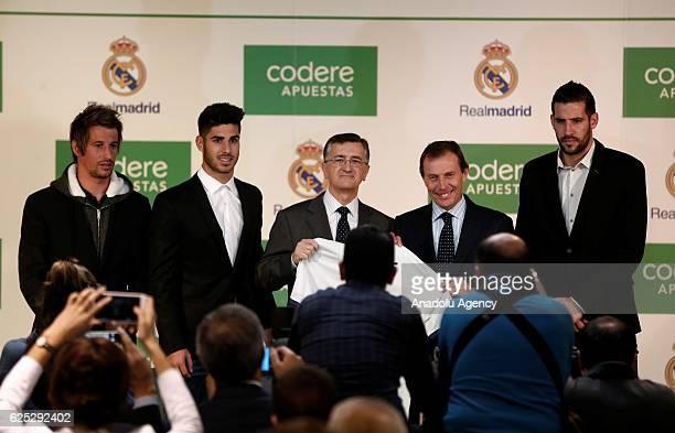 Head of Real Madrid's corporate affairs Emilio Butragueno the President of Codere Jose Antonio Martinez Sampedro footballers Marco Asensio Fabio...