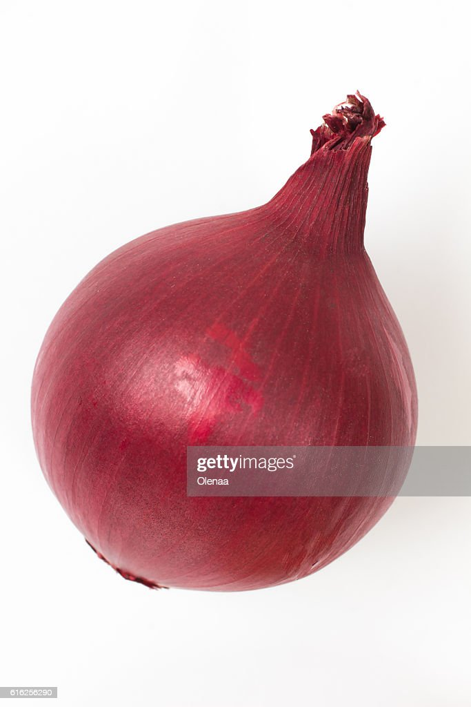 head of red onion on a white background : Stock Photo
