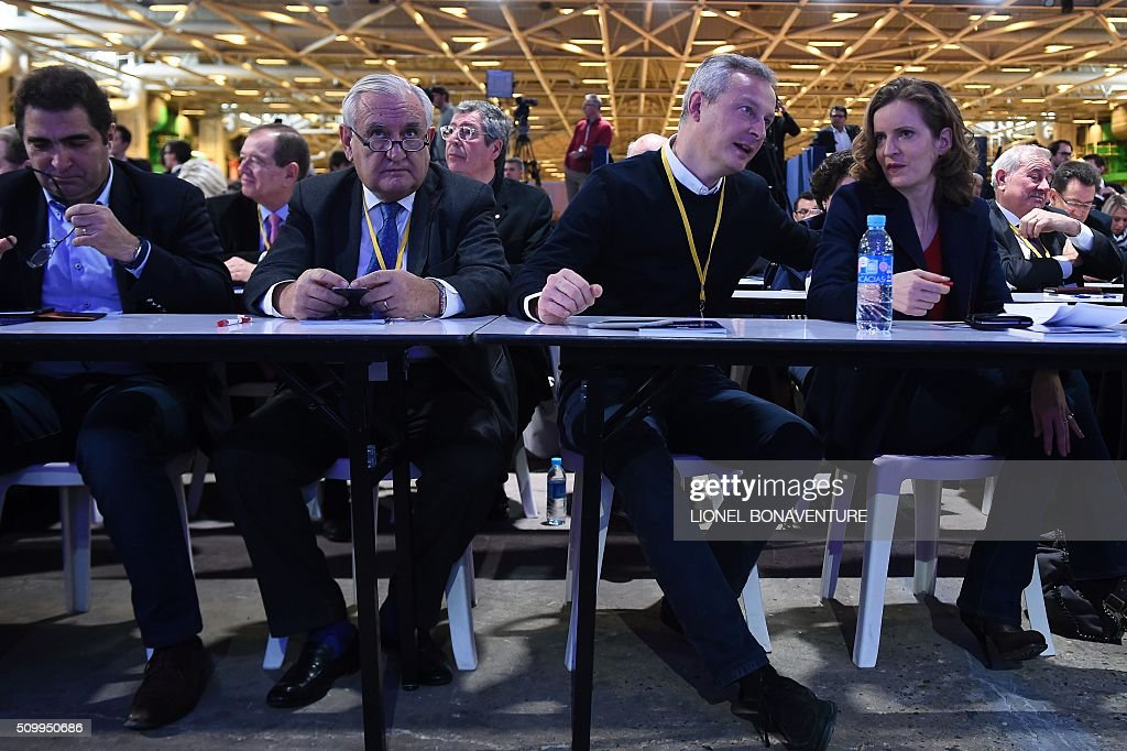 Head of right-wing party Les Republicains (LR) parliamentary group at the French national assembly Christian Jacob, LR party member and Former Prime Minister of France Jean-Pierre Raffarin, and LR party members Bruno Le Maire and Nathalie Kosciusko-Morizet attend the LR National Council on February 13, 2016 in Paris. AFP PHOTO / LIONEL BONAVENTURE / AFP / LIONEL BONAVENTURE