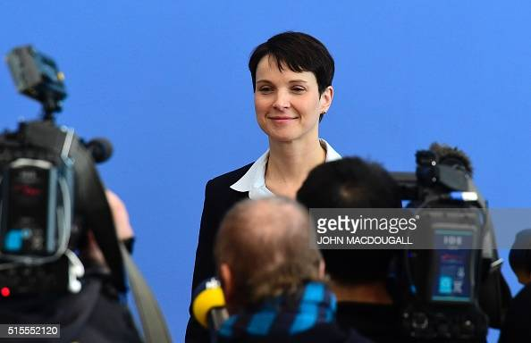 Head of rightwing populist Alternative for Germany Frauke Petry arrives for a press conference in Berlin on March 14 2016 a day after election in...