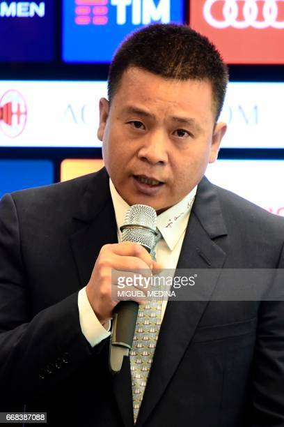Head of Rossoneri Sport Investment Lux Chinese businessman and new owner of the AC Milan football club Yonghong Li speaks during a press conference...
