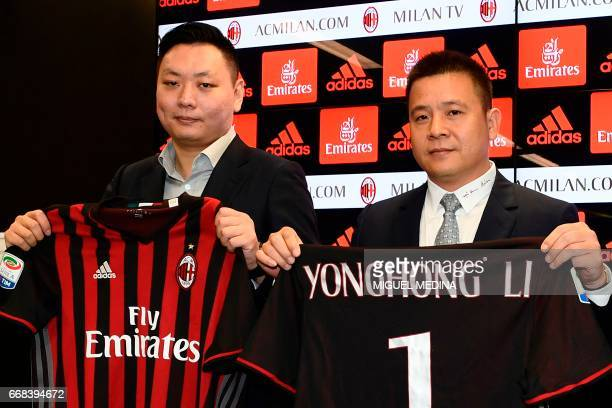 Head of Rossoneri Sport Investment Lux Chinese businessman and new owner of the AC Milan football club Yonghong Li poses with Rossoneri Sport...