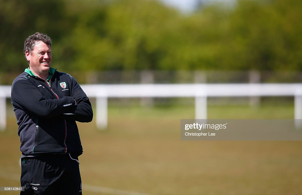 Head of Rugby Operations, Glenn Delaney of London Irish watches over the team training during the London Irish Media Session at Hazelwood Centre on May 4, 2016 in Sunbury, England.