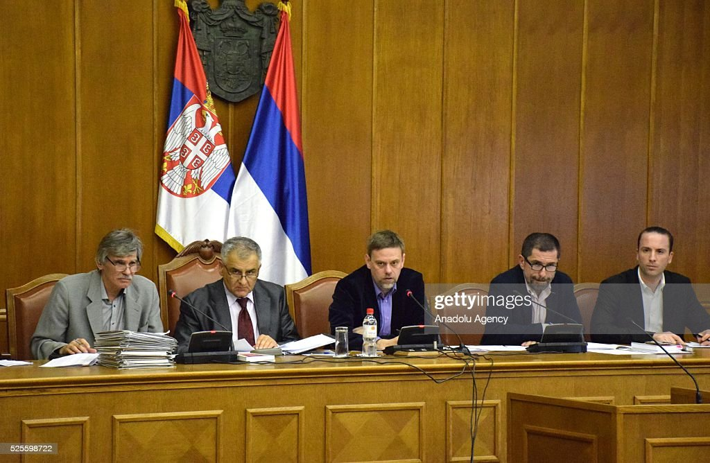 Head of Serbian Electoral Commission (RIK), Dejan Djurdjevic (C) delivers a speech during a press conference on the general elections held on Sunday, in Belgrade, Serbia on April 28, 2016.