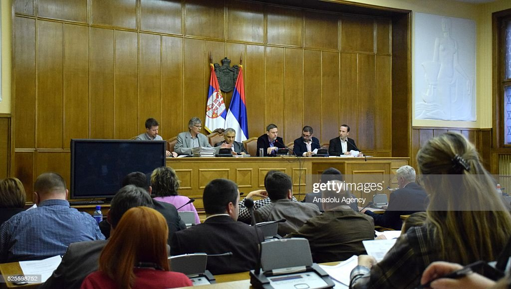 Head of Serbian Electoral Commission (RIK), Dejan Djurdjevic (3rd R) delivers a speech during a press conference on the general elections held on Sunday, in Belgrade, Serbia on April 28, 2016.
