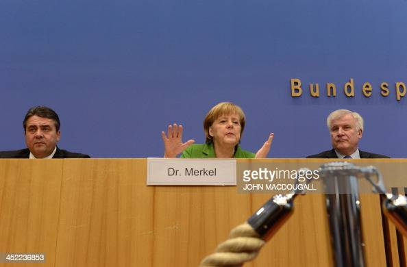 Head of Social Democratic Party Sigmar Gabriel German Chancellor and head of Christian Democratic Party Angela Merkel and leader of CDU Bavarian...