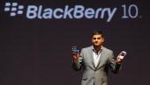Head of software portfolio BlackBerry Vivek Bharadwaj speaks at the country launch of the BlackBerry Z10 in Mumbai on February 25 2013 The...