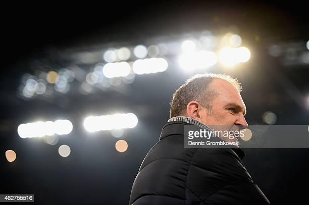 Head of sports Joerg Schmadtke of 1 FC Koeln looks on prior to the Bundesliga match between 1 FC Koeln and VfB Stuttgart at RheinEnergieStadion on...