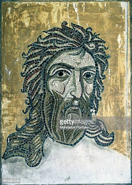 Head of St John the Baptist 19th Century polychrome mosaic