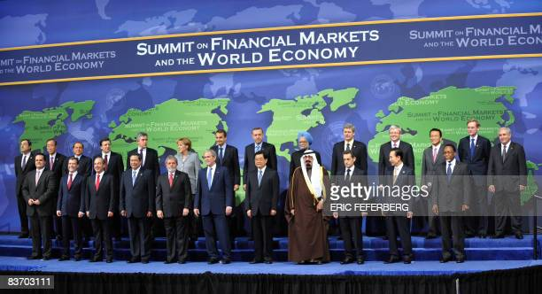 Head of States attending the G20 summit on Financial Markets and the World Economy pose for a family picture at the National Building Museum on...