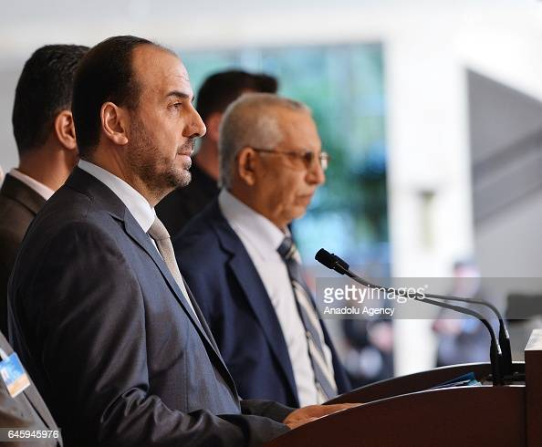 Head of Syrian opposition delegation Naser alHariri attends a press conference after a meeting with United Nations' Syria envoy on February 27 2017...