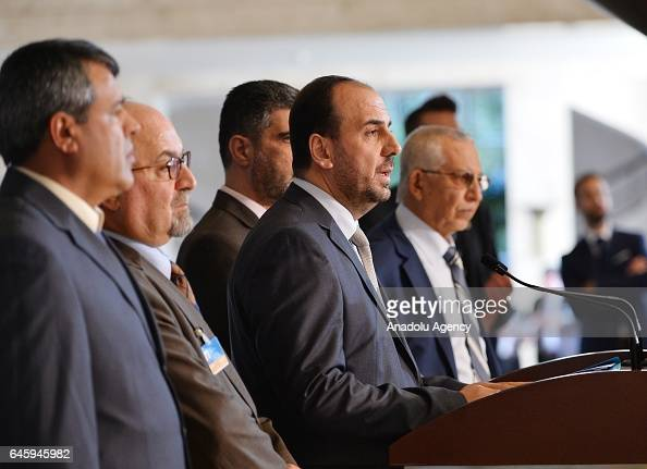Head of Syrian opposition delegation Naser alHariri speaks during a press conference after a meeting with United Nations' Syria envoy on February 27...