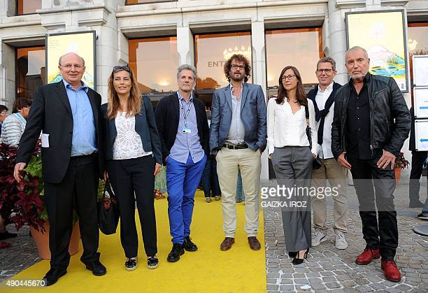 Head of the Biarritz's Festival Latin America Marc Bonduel poses with members of the jury French actress Sophie Duez the President of the jury...