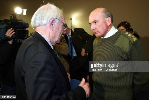 Head of the British Army General Sir Richard Dannatt speaks to retired Major John Potter at the army aftercare centre near Holywood County Down by...