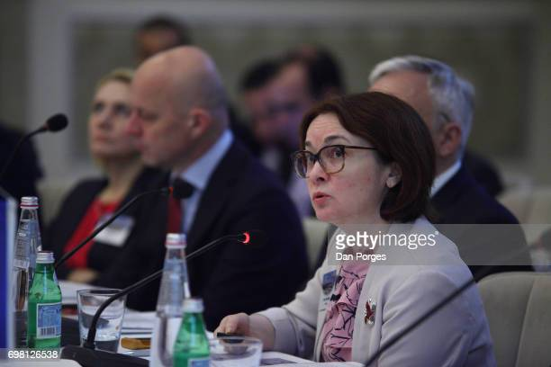 Head of the Central Bank of Russia Elvira Nabiullina speaks during the 36th Meeting of the Central Bank Governors' Club of Central Asia the Black Sea...
