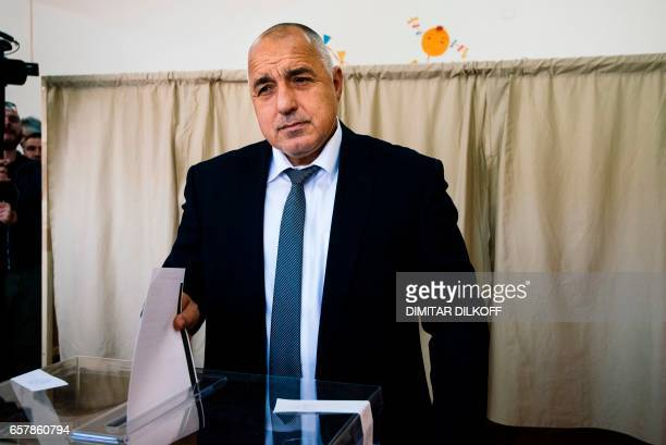 Head of the centreright GERB party and former prime minister Boyko Borisov casts his ballot at a polling station in Sofia on March 26 during the...