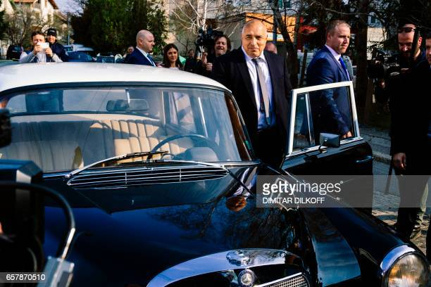 Head of the centreright GERB party and former prime minister Boyko Borisov gets into a classic Mercedes Benz after voting at a polling station in...