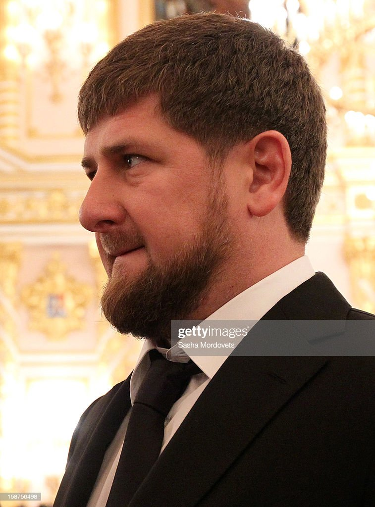 Head of the Chechen Republic <a gi-track='captionPersonalityLinkClicked' href=/galleries/search?phrase=Ramzan+Kadyrov&family=editorial&specificpeople=571490 ng-click='$event.stopPropagation()'>Ramzan Kadyrov</a> attends a State Council meeting at Grand Kremlin Palace on December 27, 2012 in Moscow, Russia. During the meeting Russian President Vladimir Putin said that he will sign a bill that will ban Americans from adopting Russian children.