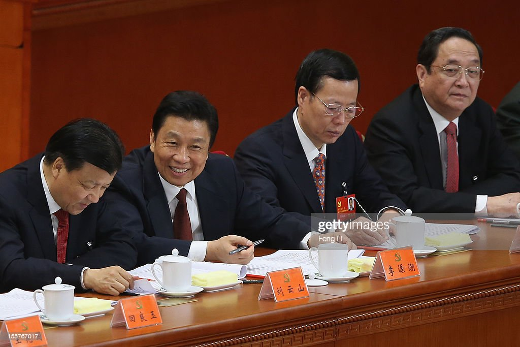 Head of the Chinese Communist Party's Central (CPC) Propaganda Department Liu Yunshan, Chinese Minister of the Organisational Department Li Yuanchao, Secretary of the CPC Tianjin Committee Zhang Gaoli and Secretary of the CPC Shanghai Committee Yu Zhengsheng attend the opening session of the 18th Communist Party Congress held at the Great Hall of the People on November 8, 2012 in Beijing, China. The Communist Party Congress will convene from November 8-14 and will determine the party's next leaders.