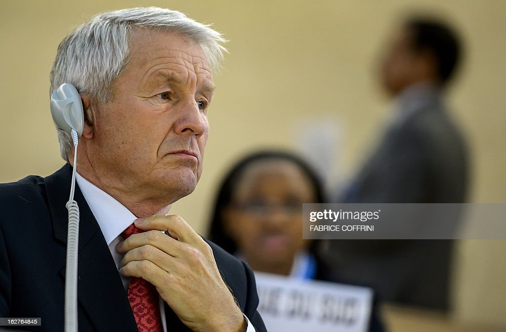Head of the Council of Europe and chairman of the Norwegian Nobel Committee, Thorbjoern Jagland, waits to address the assembly during the 22nd session of the United Nations Human Rights Council on February 26, 2013 in Geneva. Europe's Roma are paying a high price amid the spiralling economic crisis, Jagland said warning that many more were likely to head westward as conditions deteriorate in the East. 'Minorities in Europe are coming under a lot more pressure than they have in a long time,' Jagland said in an interview with AFP ahead of an address at the UN Human Rights Council in Geneva.