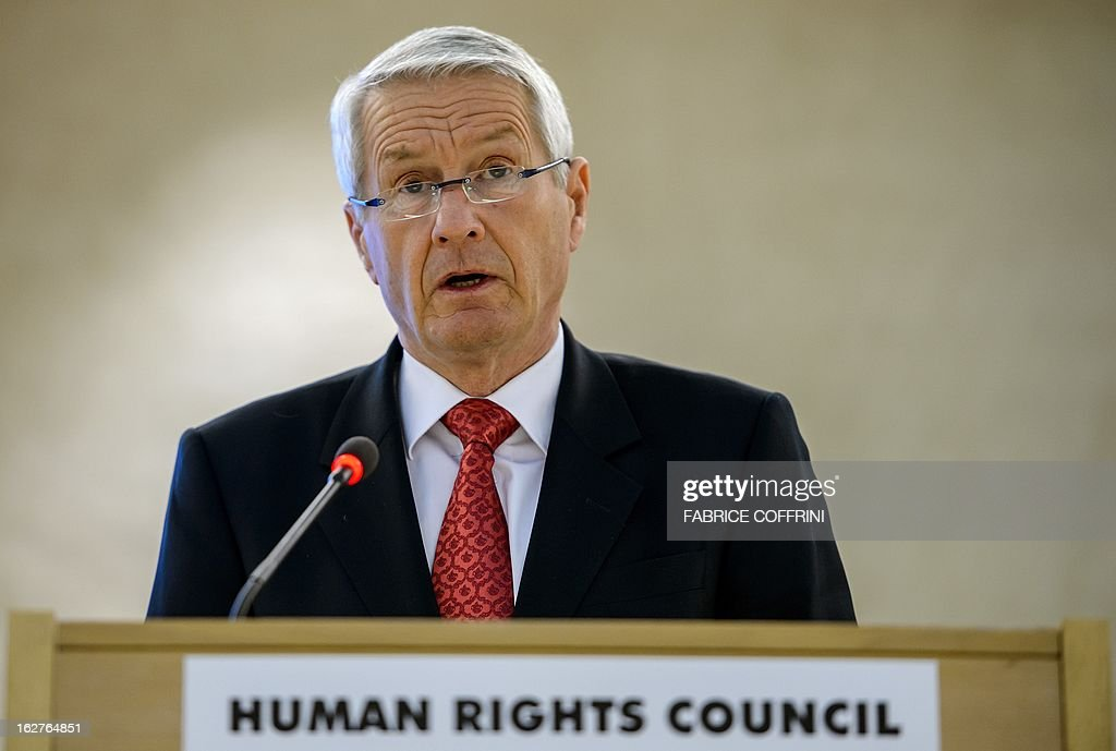 Head of the Council of Europe and chairman of the Norwegian Nobel Committee, Thorbjoern Jagland, addresses the assembly during the 22nd session of the United Nations Human Rights Council on February 26, 2013 in Geneva. Europe's Roma are paying a high price amid the spiralling economic crisis, Jagland said warning that many more were likely to head westward as conditions deteriorate in the East. 'Minorities in Europe are coming under a lot more pressure than they have in a long time,' Jagland said in an interview with AFP ahead of an address at the UN Human Rights Council in Geneva. AFP PHOTO / FABRICE COFFRINI