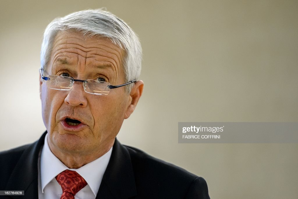 Head of the Council of Europe and chairman of the Norwegian Nobel Committee, Thorbjoern Jagland, addresses the assembly during the 22nd session of the United Nations Human Rights Council on February 26, 2013 in Geneva. Europe's Roma are paying a high price amid the spiralling economic crisis, Jagland said warning that many more were likely to head westward as conditions deteriorate in the East. 'Minorities in Europe are coming under a lot more pressure than they have in a long time,' Jagland said in an interview with AFP ahead of an address at the UN Human Rights Council in Geneva.