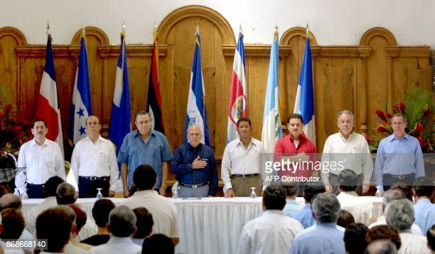 Head of the delegation from Belize Moisés Caal Panamanian secondary Vice President Dominador Kaiser Vice President of Honduras Vicente Williams the...