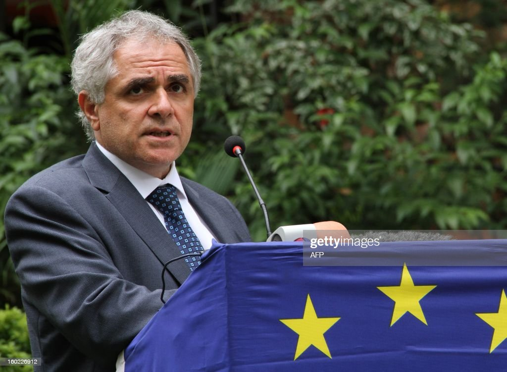 Head of the European Delegation to Uganda Roberto Ridolfi address the media at the European Union Training Mission Headquarters in Kampala on January 28, 2013. The EU will start specialized training of Somali army officers in Uganda. The EU has been training soldiers in Uganda since 2010 with some 3000 Somalis already trained in the facility.