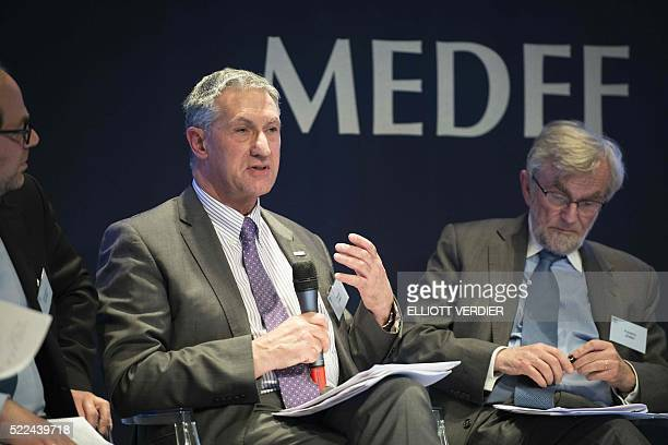 Head of the European Small Business Alliance David Caro speaks during the French employers' association MEDEF Transatlantic Trade and Investment...