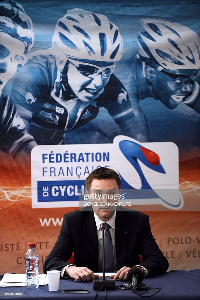 Head of the French Cyclist Federation (FFC), David Lappartient, speaks to medias during a press conference on February 6, 2013 in Rosny-sous-Bois, near Paris. Lappartient announced the project of a 'French Sky team' in reference to the British group who won last year's Tour de France with Bradley Wiggins, mixing the five cycling sports (route, piste, VTT, BMX, cyclo-cross) in a one team of 60 riders.