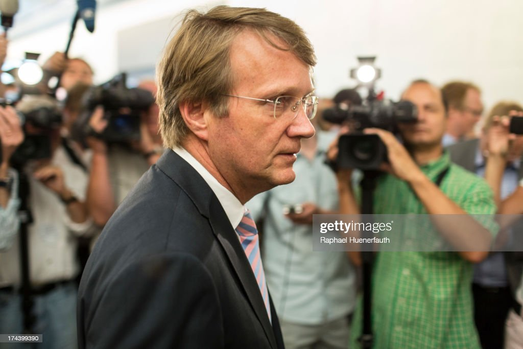 Head of the German Chancellery and Federal Minister for Special Tasks, <a gi-track='captionPersonalityLinkClicked' href=/galleries/search?phrase=Ronald+Pofalla&family=editorial&specificpeople=657117 ng-click='$event.stopPropagation()'>Ronald Pofalla</a> makes his way to the special session of the Parliamentary Control Panel (PKG) of the Bundestag being held because of the spy scandal on July 25, 2013 in Berlin, Germany. Pofalla, who is responsible for the intelligence agencies in the government, appeared before the Parliamentary Control Committee to answer questions about the extent of co-operation between the Federal Intelligence Service (BND) and the U.S. Secret National Security Agency (NSA), amid allegations of US surveillance of German citizens.