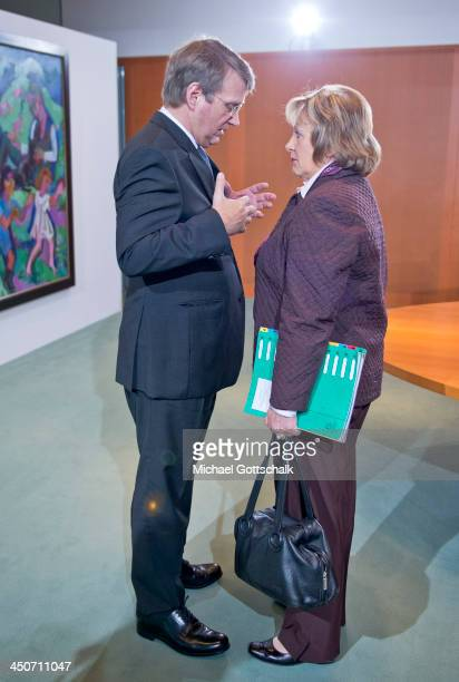 Head of the German Chancellery Ronald Pofalla and German Justice Minister Sabine LeutheusserSchnarrenberger prior to the weekly cabinet meeting on...
