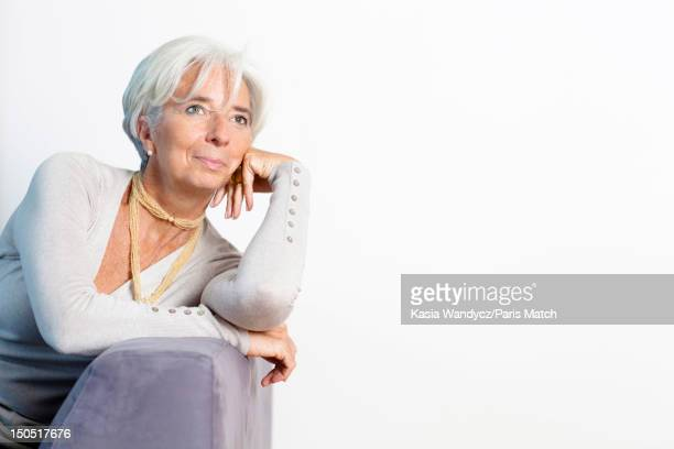Head of the IMF Christine Lagarde is photographed at her Georgetown apartment for Paris Match on November 19 2011 in Washington DC