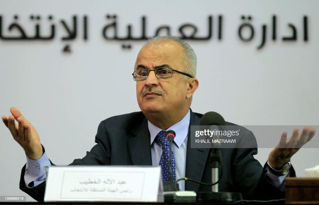 Head of the Independent Commission for Elections Abdul Ellah Al-Khatib gestures during a press conference in Amman to announce the results of the parliamentary elections on January 24, 2013. Tribal leaders, pro-regime loyalists and independent businessmen looked set to sweep Jordan's parliamentary election that was shunned by Islamists, according to initial results released earlier in the day.